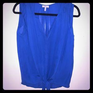 Joie Silk Blue Tie Blouse, Sz Medium